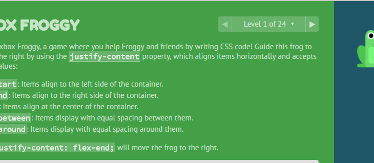Flexbox Froggy – Learn Flexbox basics quickly and easily.